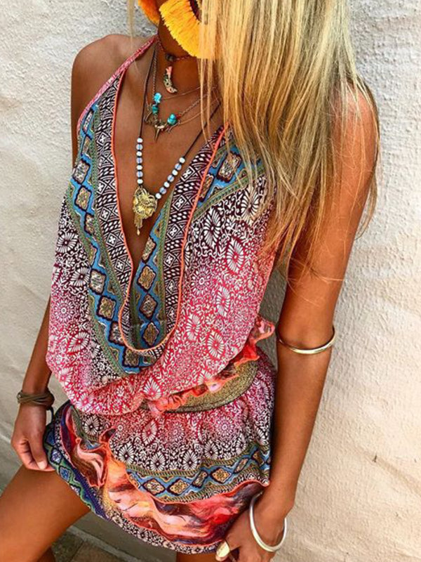 Boho Multicolor Printed Casual Blouse Tops Tunic