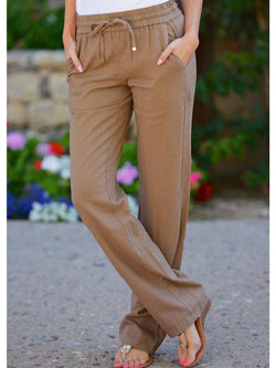 Khaki Casual Pockets Pants