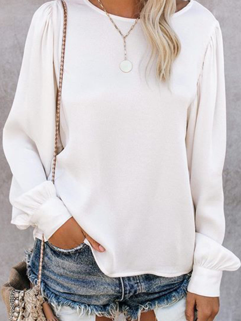 Solid Long Sleeve Casual Round Neck Shirts