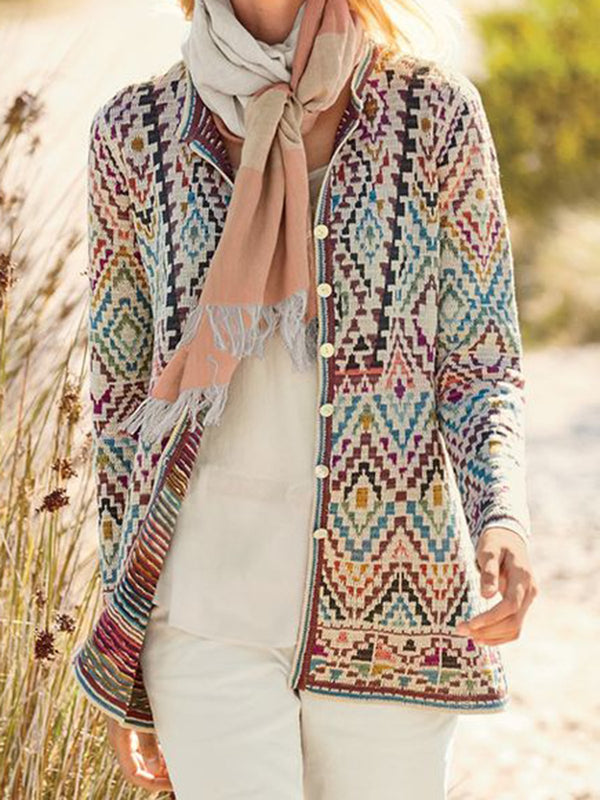 Multicolor Geometric Long Sleeve Knitted Floral-Print Outerwear
