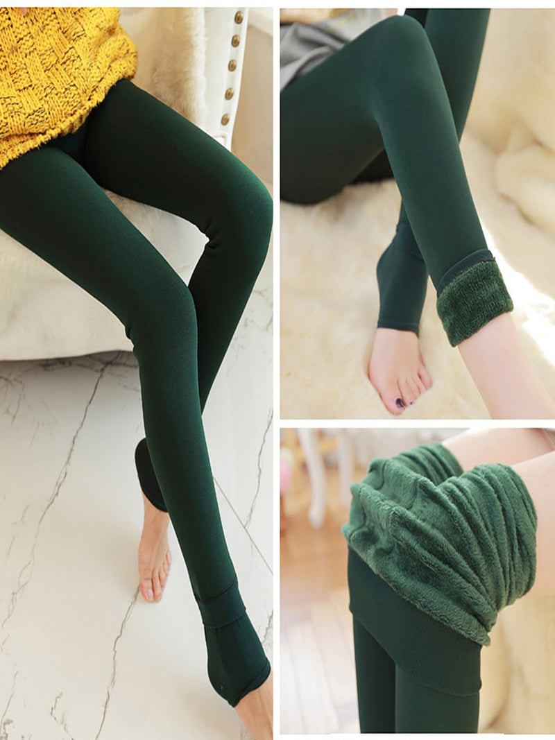 Thickening Plus Women Pearl Velvet Warm One-piece Plain Pants