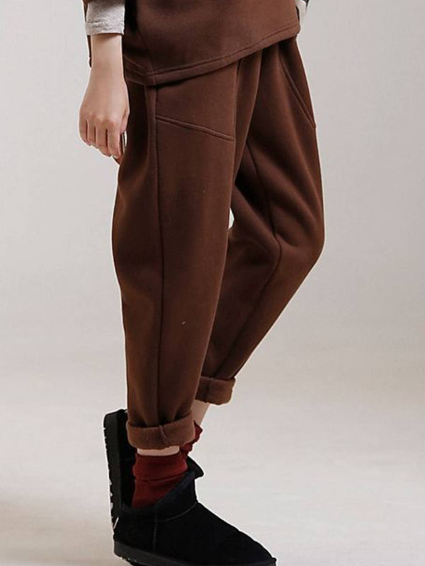 Brown Casual Plain Cotton Pants
