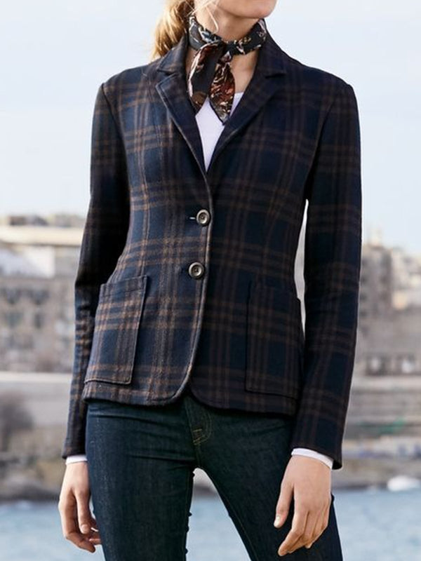 Plus Size Plaid Long Sleeve Casual Outerwear