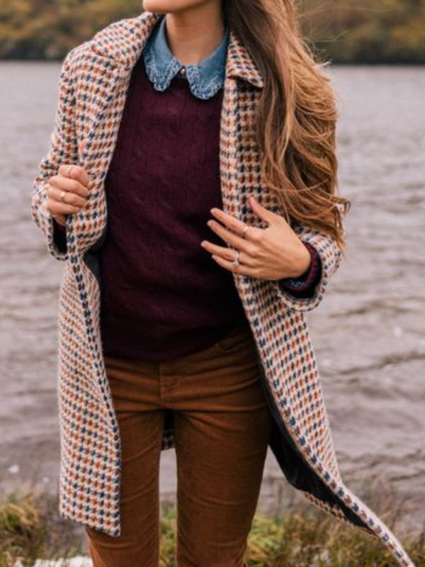 Multicolor Long Sleeve Checkered/plaid V Neck Outerwear