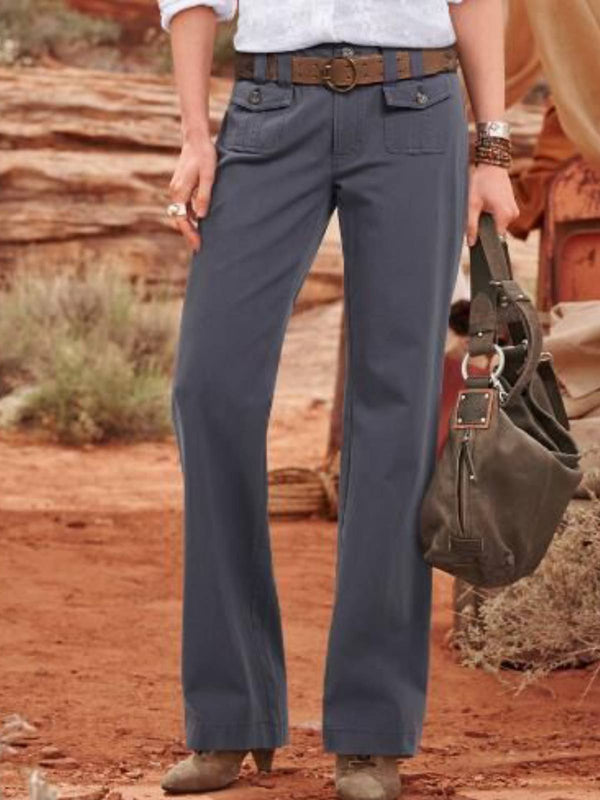 Gray Plain Cotton-Blend Casual Pants