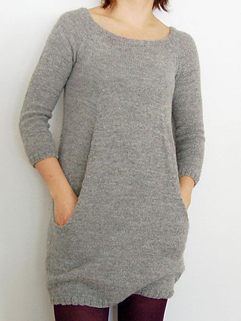 Light Gray Knitted Long Sleeve Shirts & Tops