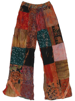 Women Vintage Cotton-Blend Patchwork Pants