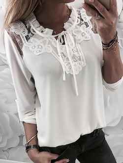 Lace stitching pullover shirt