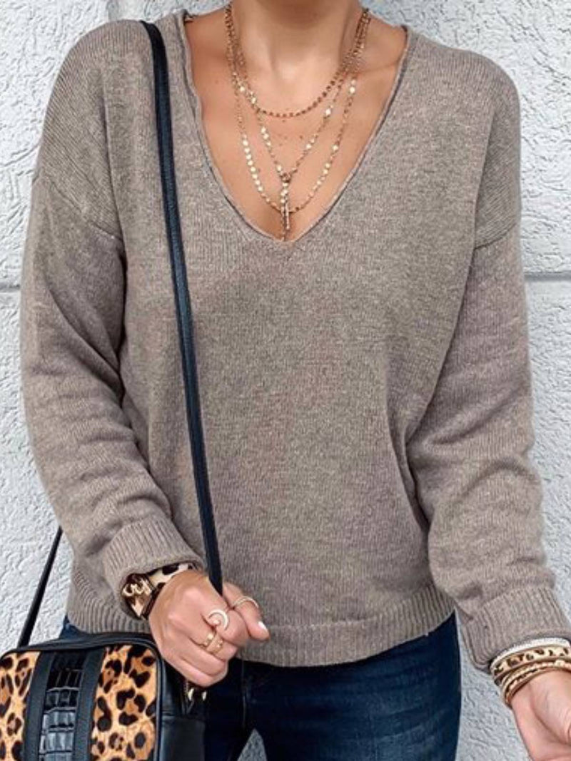 Gray Cotton Long Sleeve Plain Shirts & Tops
