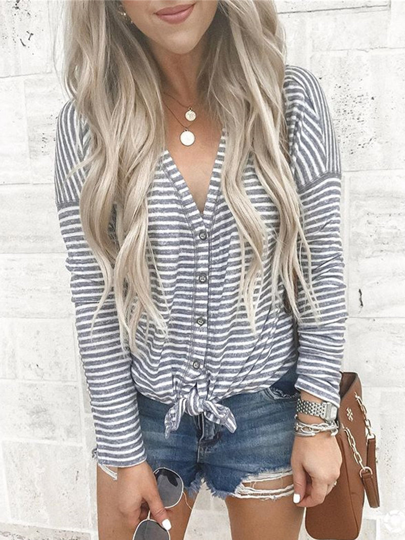 Plus Size Long Sleeve Striped Statement Casual Tops