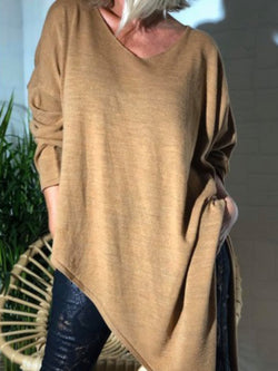 Casual Long Sleeve Solid V Neck Irregular Tops