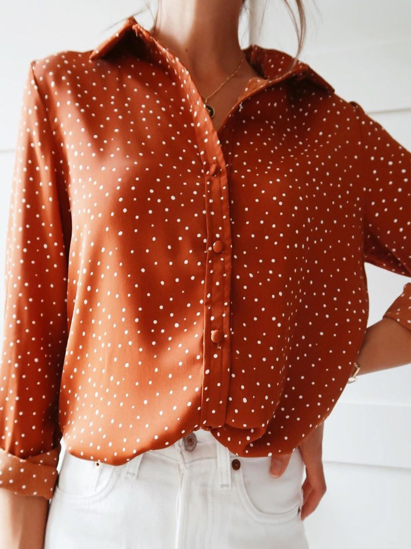 Plus Size Long Sleeve Polka Dots Printed Casual Shirts Tops