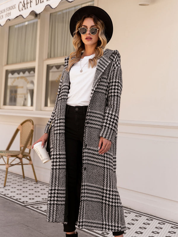 Women Wool Blend Checkered/plaid Hoodie Outerwear