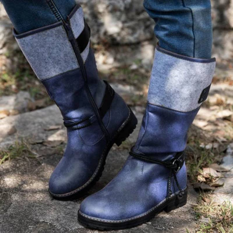 Women Artificial Leather Blocking Hook-Loop Mid-Calf Boots