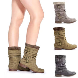 Women Sweater Cuff Booties Casual Comfort Plus Size Artificial Leather Boots