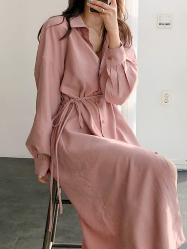 Pink Shirt Collar Cotton Long Sleeve Dresses