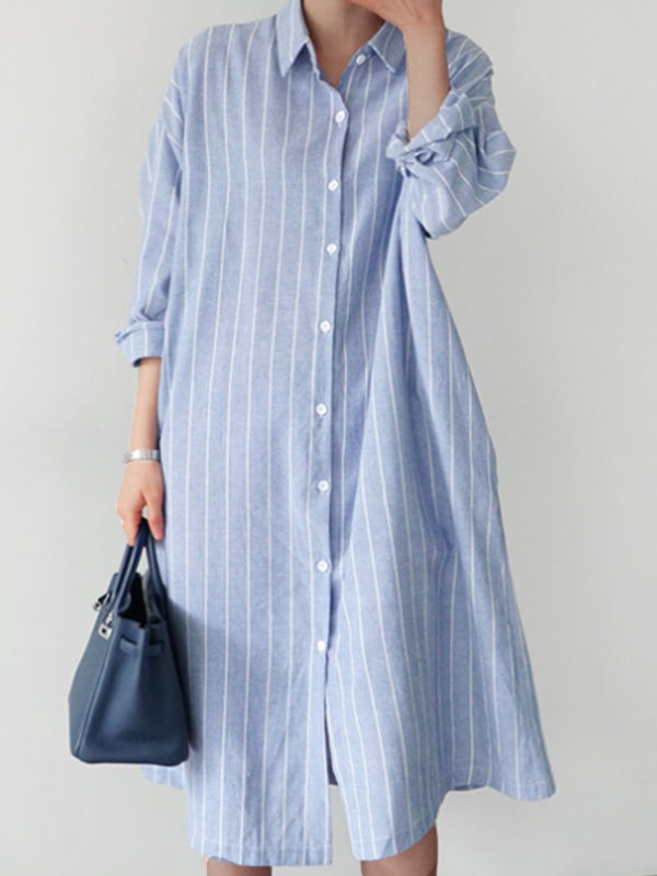 Shirt Collar Casual Stripes Dresses