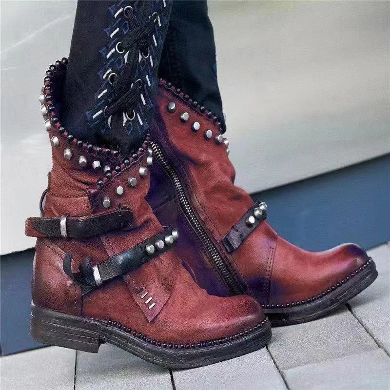 Women Retro Rivet Belt Buckle Solid Color Booties
