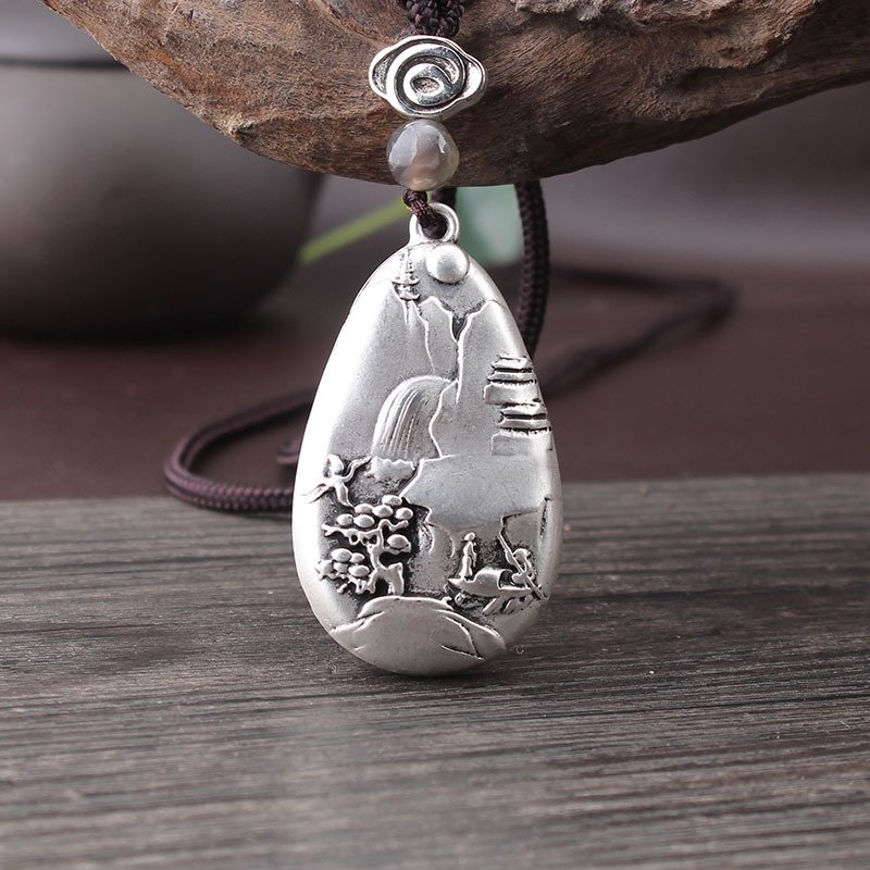 Ethnic style antique silver pendant sweater chain long money chain
