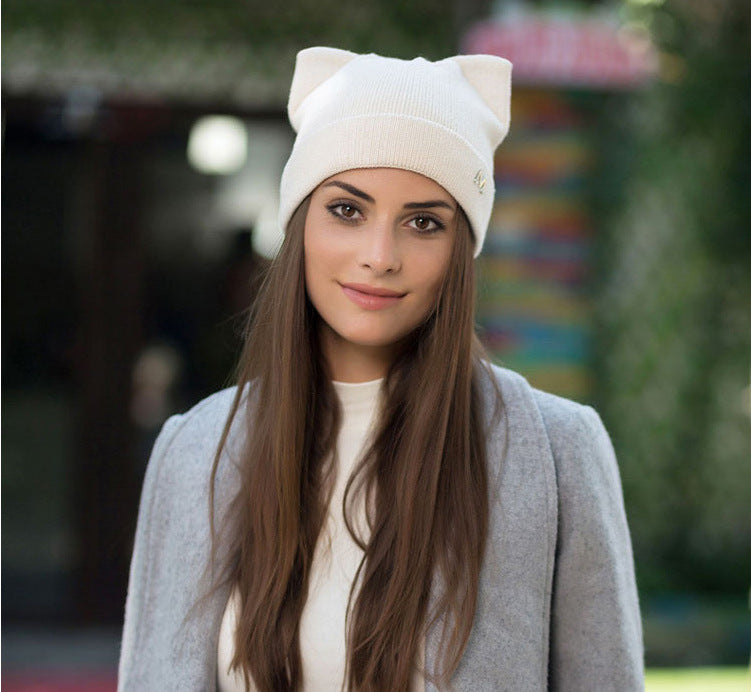 Cat ears autumn and winter wool hat