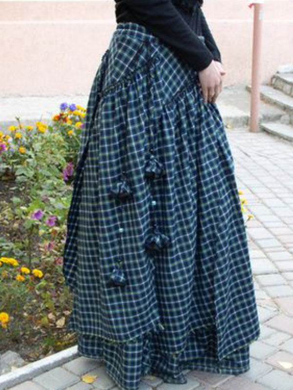 Casual Vintage Plaid Skirts