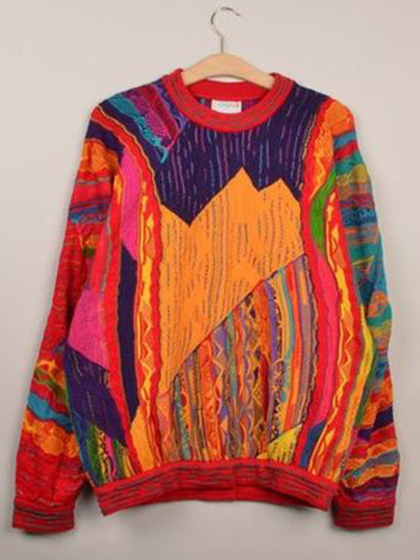 Multicolor Knitted Long Sleeve Abstract Plus Size Sweater
