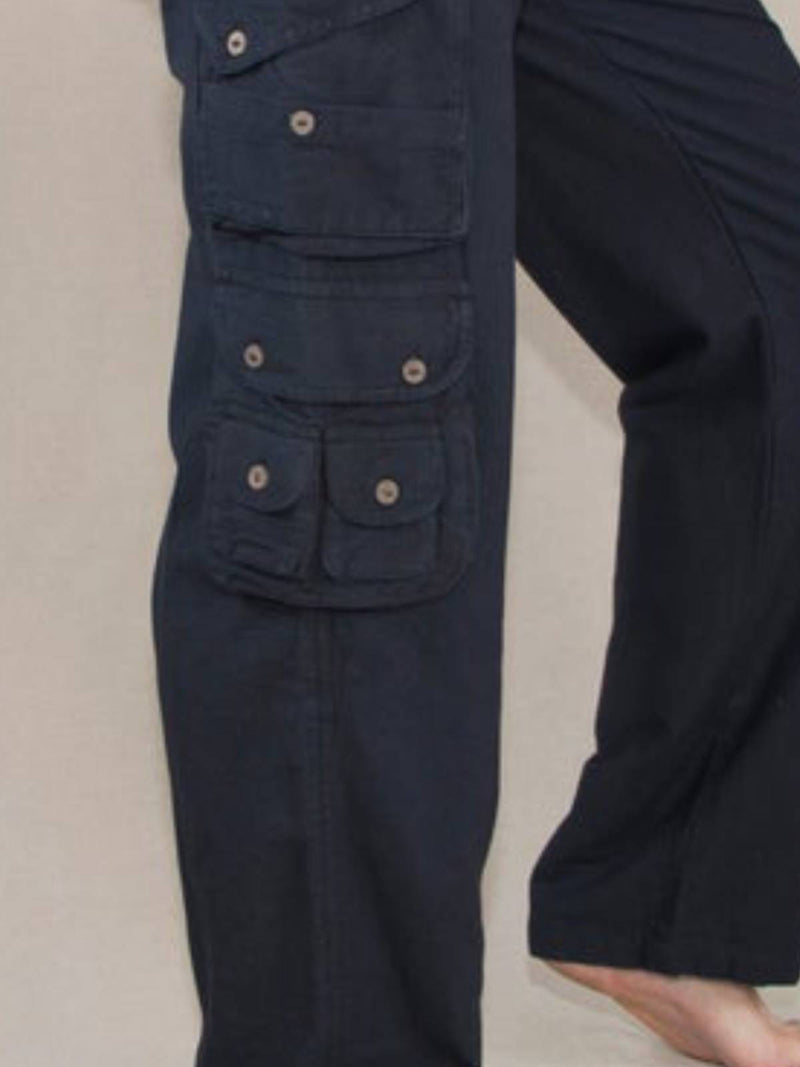 Deep Blue Plain Cotton Casual Pants