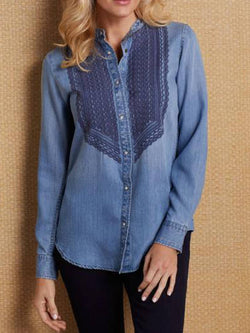 Blue Long Sleeve Buttoned Shirts & Tops
