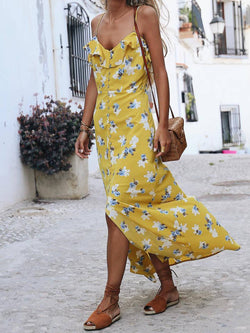 Yellow V Neck Cotton-Blend Floral Casual Dresses