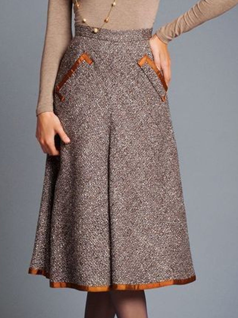 Plus Size Gray Casual Tweed Skirts