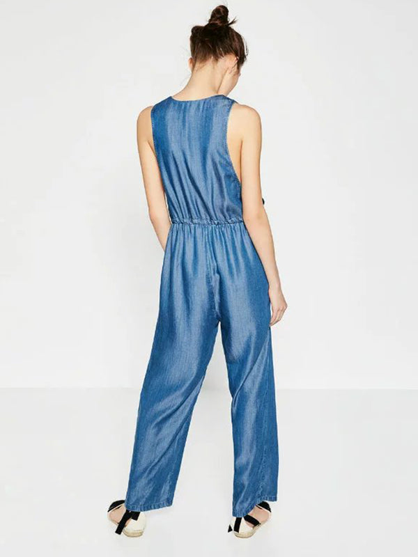 Blue Drawcord Crew Neck Sleeveless Jumpsuit