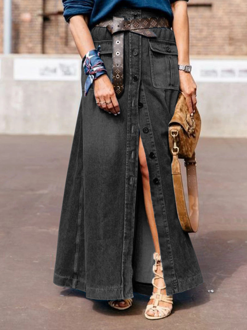 Blue Denim Casual Skirts