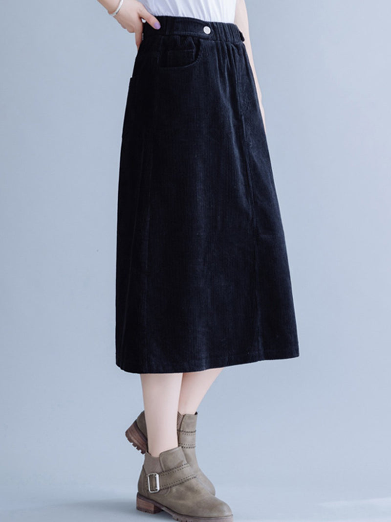Plus size thickened literary corduroy loose skirt