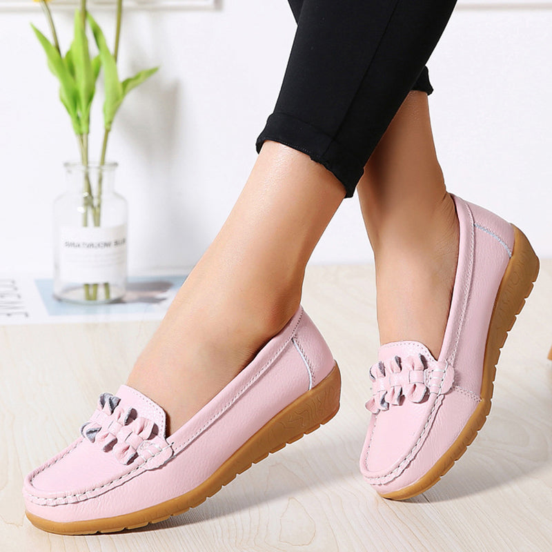 Women's Shoes Salto Baixo Round Toe Solid Non-slip Casual Loafers
