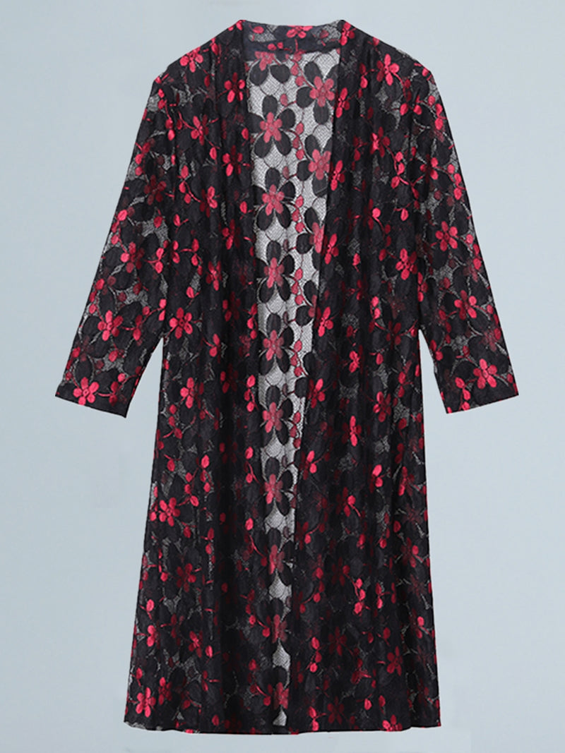 Plus Size Floral Long Sleeve Outerwear