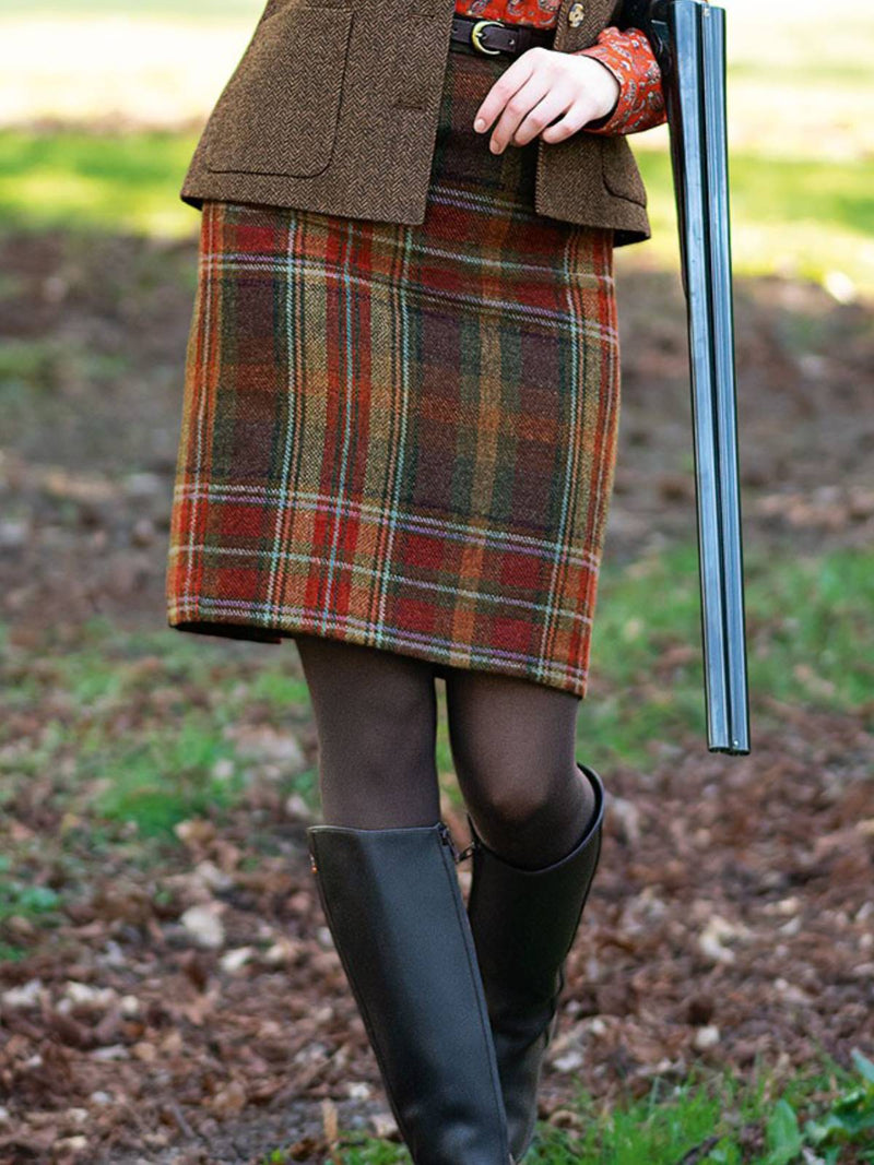 Plaid Cotton-Blend Casual Skirts
