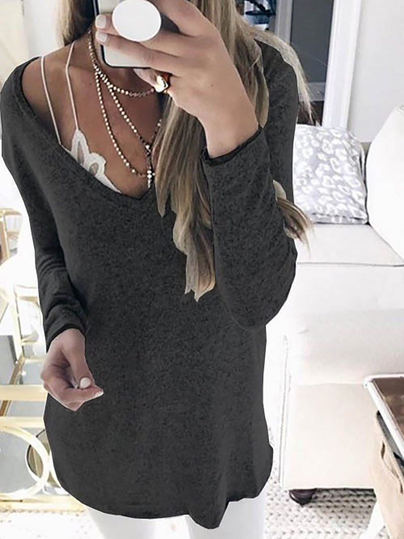 Solid Long Sleeve Knitted Casual V neck Wool blend Plus Size Sweater