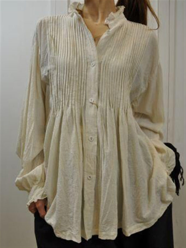 Casual Basic Daily Plus Size Spring Long Sleeve Blouse