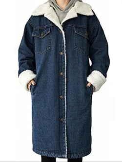 Autumn Winter Casual Basic Daily Denim Faux Fur Jacket