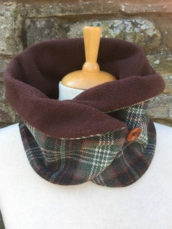 Checked fleece lined scarf