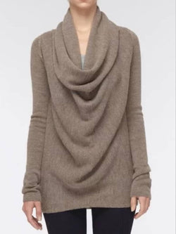 Cowl Neck Solid Vintage Knitted Top