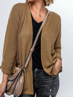Coffee Long Sleeve Plain Casual Outerwear