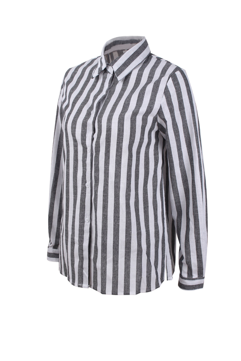 Shirt Collar Striped Long Sleeve Casual Shirts