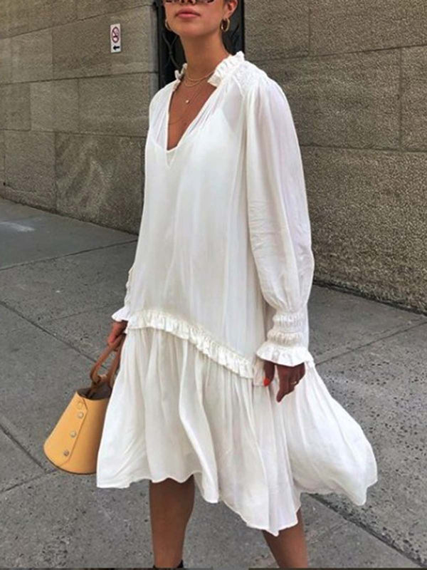 White Long Sleeve Casual Dresses