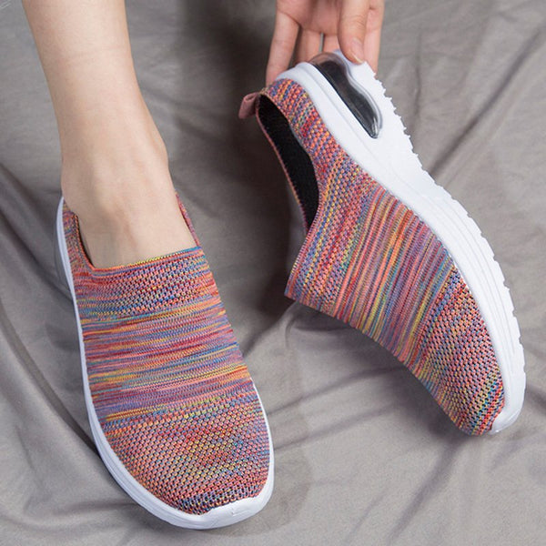 Women Backless Slip On Round Toe Mesh Fabric Sneakers
