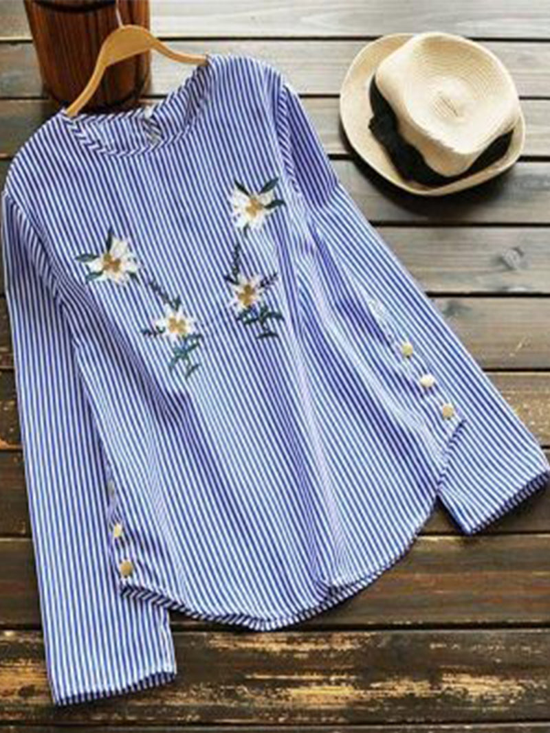 Plus Size Long Sleeve Vintage Floral Casual Tops