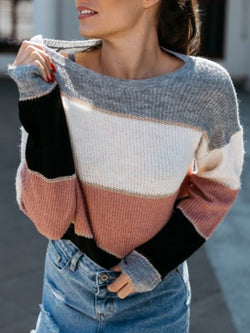 Knit sweater plus size Cotton Knitted Stripes Casual Shirts & Tops