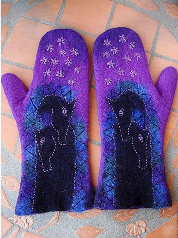 Blue Purple Statement Women Floral Gloves & Mittens