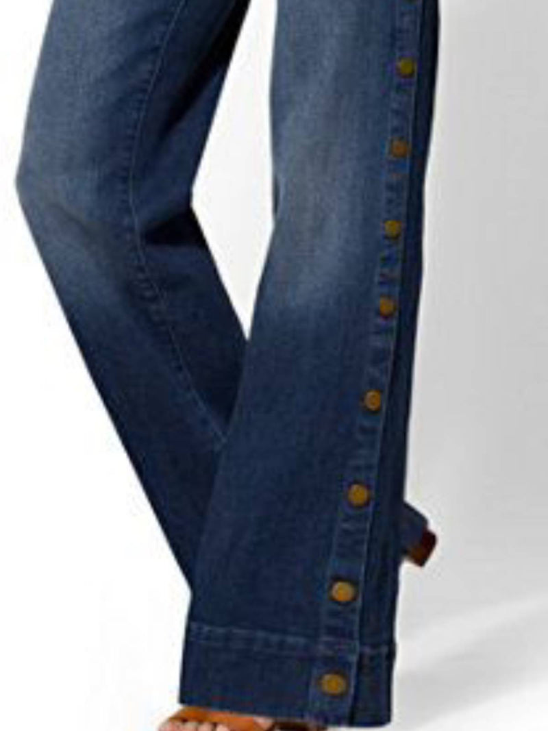 Blue Casual Plain Denim Pants