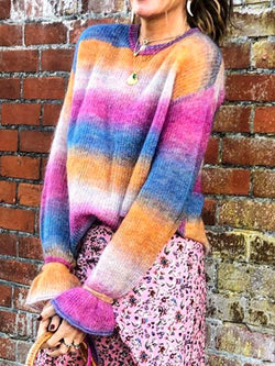 Plus size rainbow stripe sweater Casual Stripes Cotton Sweater